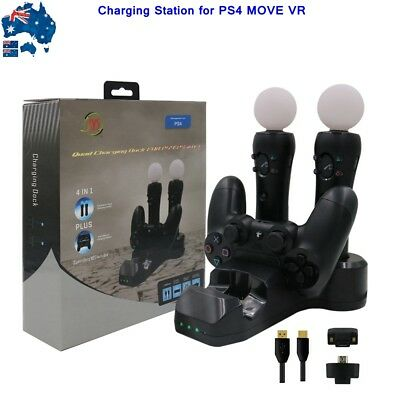 Fast Charger Dock Charging Station 4-in-1 For PS4 MOVE VR Handle Game Controller