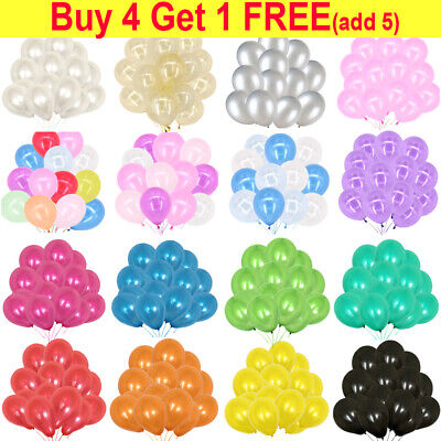 "100pcs 10"" Pearlised Latex Balloons Helium Pearl Plain Balloons Wedding Party UK"