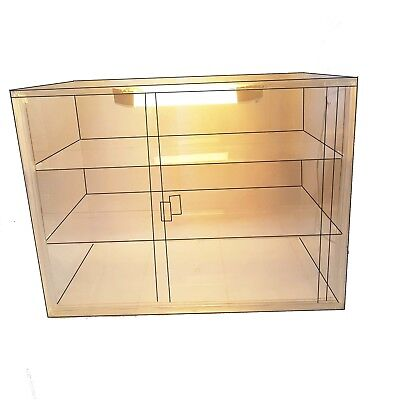 Bakery Display Case 3 Tray Acrylic Perspex Clear Muffins Cakes with light