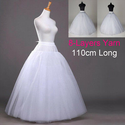 ☆8-Layers Beauty Bridal Petticoat Crinoline Long Wedding Dress Underskirt White