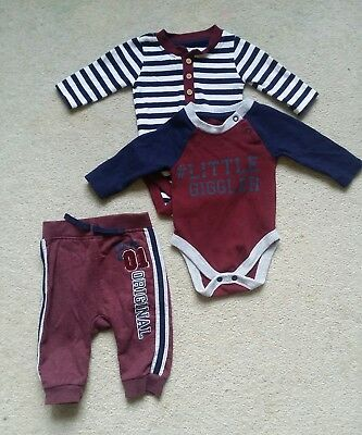 Baby boys outfit navy blue/burgundy trousers joggers long sleeved top 0-3 months