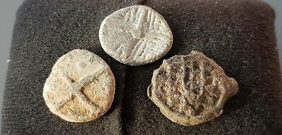 Superb design Trio of Medieval lead tokens found in England in the 1970s L21L