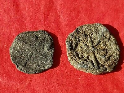 Superb design Trio of Medieval lead tokens found in England in the 1970s L74t