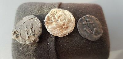 Superb Trio of Medieval lead tokens found in England in the 1970s L74x