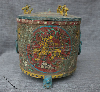 "9"" China Pure Bronze Painted Dragon Phoenix Pot Jar Box Jug"