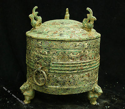 Chinese bronzes Gilt silver Bird beast Food containers pot jug jar