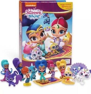 Shimmer and Shine Cake Toppers - Set Of 12 Figures with Free Book and Play Mat