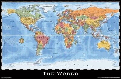 """Map of the World - Full Color - Poster Wall Art by Trends 23"""" x 34"""""""