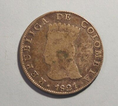 1821 Colombia 8 Reales Silver World Coin RARE South America Cundinamarca