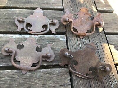 lot of 4 Vintage Brass? Metal Drawer Pulls Handles  Bat Wing Style