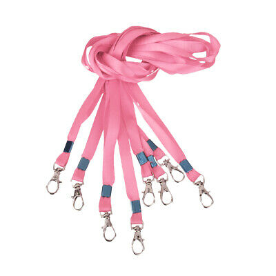 10 Pack Pink Nylon Neck Lanyard Strap with Metal Clasp for Badge Holder