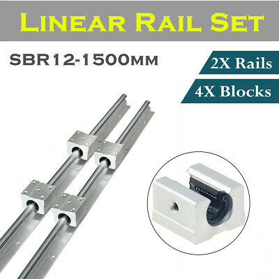 2X SBR12 300-1500mm Linear Rail Shaft Rod Optional + 4Pcs SBR12UU Block