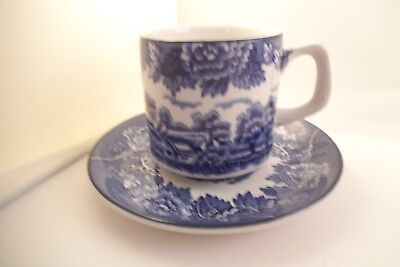 Vintage Wood & Sons Enoch English Scenery Cup & Saucer Blue