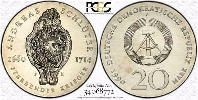 East Germany 1990-A 20 Mark, Andreas Schluter, PCGS MS66