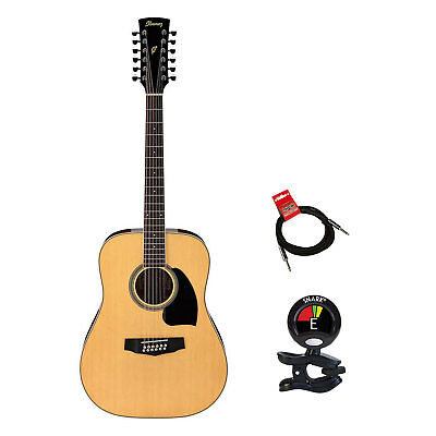 Ibanez PF1512 Dreadnought 12 String Acoustic Guitar Package With Tuner and Cable