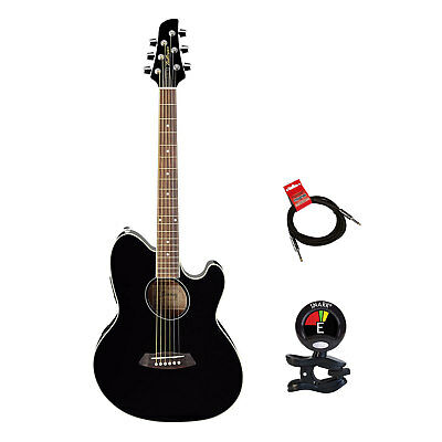 Ibanez Talman TCY10 6 Strings Acoustic Electric Guitar With Tuner & Cable Bundle