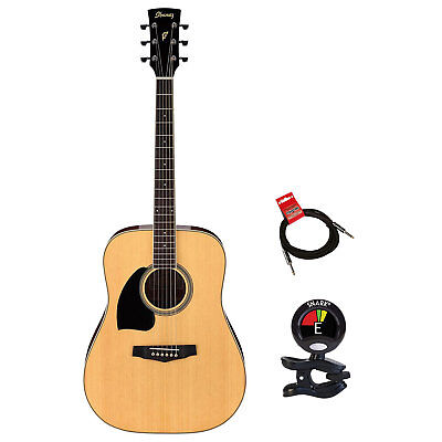 Ibanez Left Handed Model Acoustic Guitar Package With Tuner and Instrument Cable