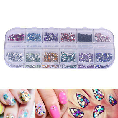 3600pcs Nail Art Rhinestones Tips Decor 1.5mm Round Glitters Studs W/ Hard Case