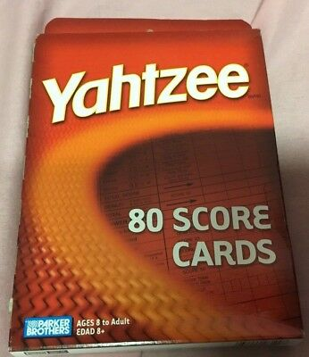 YAHTZEE 80 SCORE CARDS Pad Sheets Replacement refill Dice Hasbro Game Yahtze