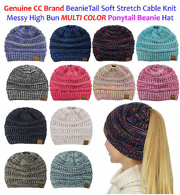 NEW! CC BeanieTail MULTI COLOR Stretch Knit Messy High Bun Ponytail Beanie