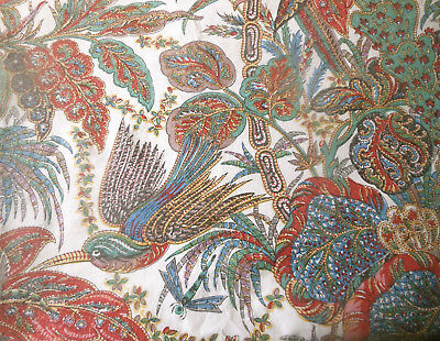 Antique Vtg. French Indienne Batik Floral Bird Cotton Fabric ~ Blue Red Green ~