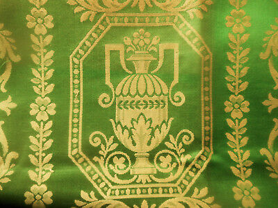 Vintage French Neo Classic Urn Green Brocade Damask Fabric ~ Silk Look Cotton
