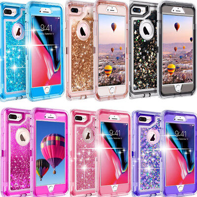 For iPhone 8 /8 Plus Shockproof Defender Glitter Rugged Case  Fit Otterbox clip