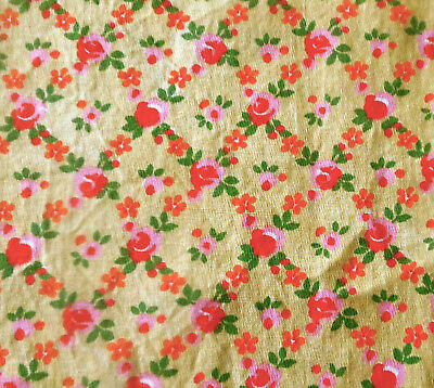 Vintage Small Scale Roses Floral Cotton Fabric ~ pink yellow orange ~dolls quilt