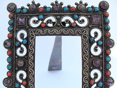 vintage Mexican Sterling Silver Amethyst Coral Turquoise Picture Frame ala Matl