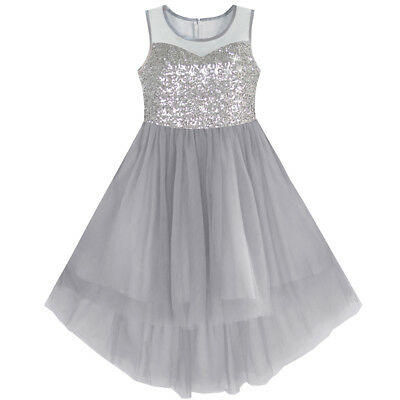 US STOCK Girls Dress Gray Sequined Tulle Hi-lo Wedding Party Dress Size 7-14