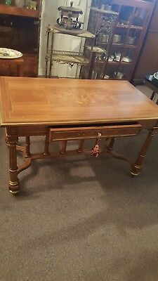 Exceptional Inlaid and Brass Inlaid Italian Library Table/Desk