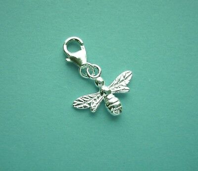 Clip On 925 Solid Sterling Silver BUMBLE BEE Charm /TRIGGER LOBSTER CLASP