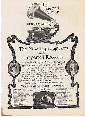 1903 Victor Talking Machine Tapering Arm & Imported Records Print Ad