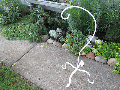 Vintage Wrought Iron Hanging Planter Stand Ornate White Garden Patio Porch Plant