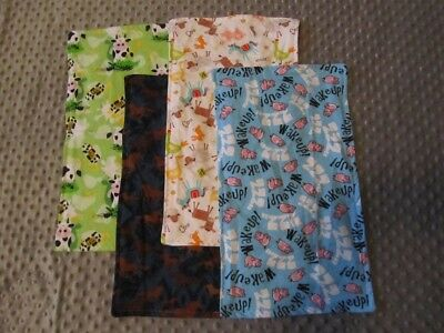 Set of Four Farm Animal/Cow/Pig/Horse Double-Sided Flannel Burp Cloths