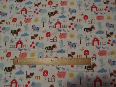 2 Yards White Farm Animal/Sheep/Cow/Horse/Pig/Barn/Fence Flannel Fabric