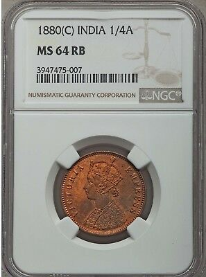 1880 C British India 1/4 Anna, NGC MS 64 RB, Red Brown