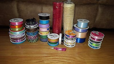 Large Lot Of Hair Bow Making Supplies, Lot Of Grosgrain Ribbon Various Sizes