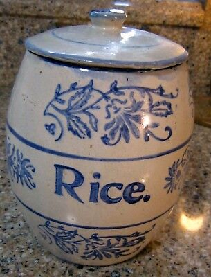 Antique Blue & White Stenciled Stoneware Wildflower Canister RICE Brush McCoy
