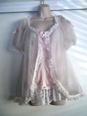 Vintage Tosca Pink & White Teddy With Peignoir Cover - Size Medium