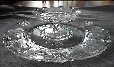 """Vintage Heisey Glass Queen Ann Orchid Etch Cheese Compote & 12"""" Cracker Tray Set"""