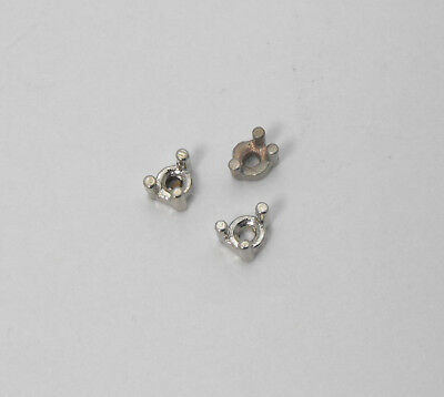 14K (3) Solid White Gold Low Base 3 Prong Round Stone Settings 2mm Size No Scrap