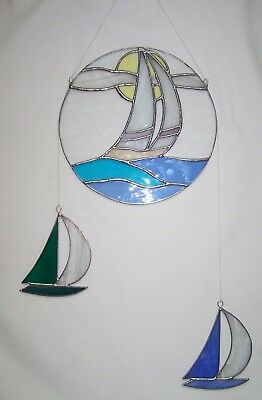 Nautical Stain Glass Leaded Round Suncatcher Sailboat w/2 Small Sailboats Mobile