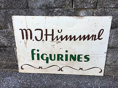 Vintage Rare M J Hummel Figurines Dealer Sign Metal Collectors German Ceramic