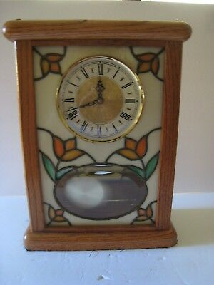 Quartz Shelve/wall Clock Oak W Stain Glass Front Mirrored Back Runs Great