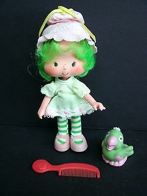 Strawberry Shortcake Lime Chiffon Doll With Parfait Parrot And Comb Vintage.