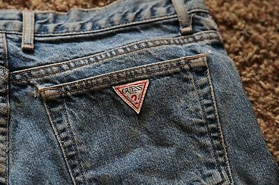 Vintage 90s GUESS High Waist Rise Tapered Retro Mom Red Triangle Logo Jeans 31