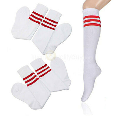 Men Women Over Knee Stripe Tube Socks Long Rugby Running-Sport White&Red 1 Pair