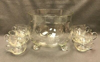 Large Vintage Cut Glass Crystal Punch Bowl & 8 Matching Cups Floral Pattern