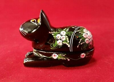 Black Lacquer Cat Kitten Trinket Box w Floral Accents Handmade & Painted Wood